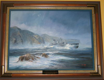 Tasting the Southerly: HMNZS Wellington From Barretts Reef; ART00569
