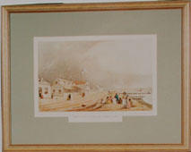 Print of: Samuel Brees, Barrett's Hotel and Lambton Quay, Wellington ca 1843