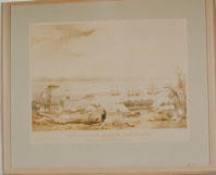 Lithograph of 'View of Nelsons Haven, in Tasman's Gulf, by Charles Heaphy' 1841