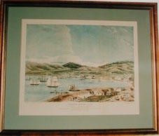Print of:' Lambton Harbour and Wellington, April 1841', by Charles Heaphy